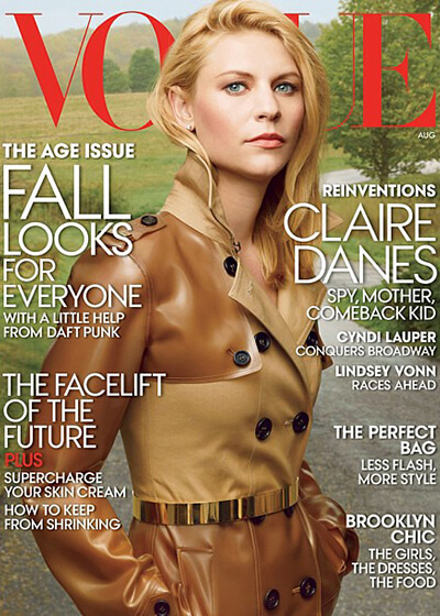 vogue magazine cover, claire danes
