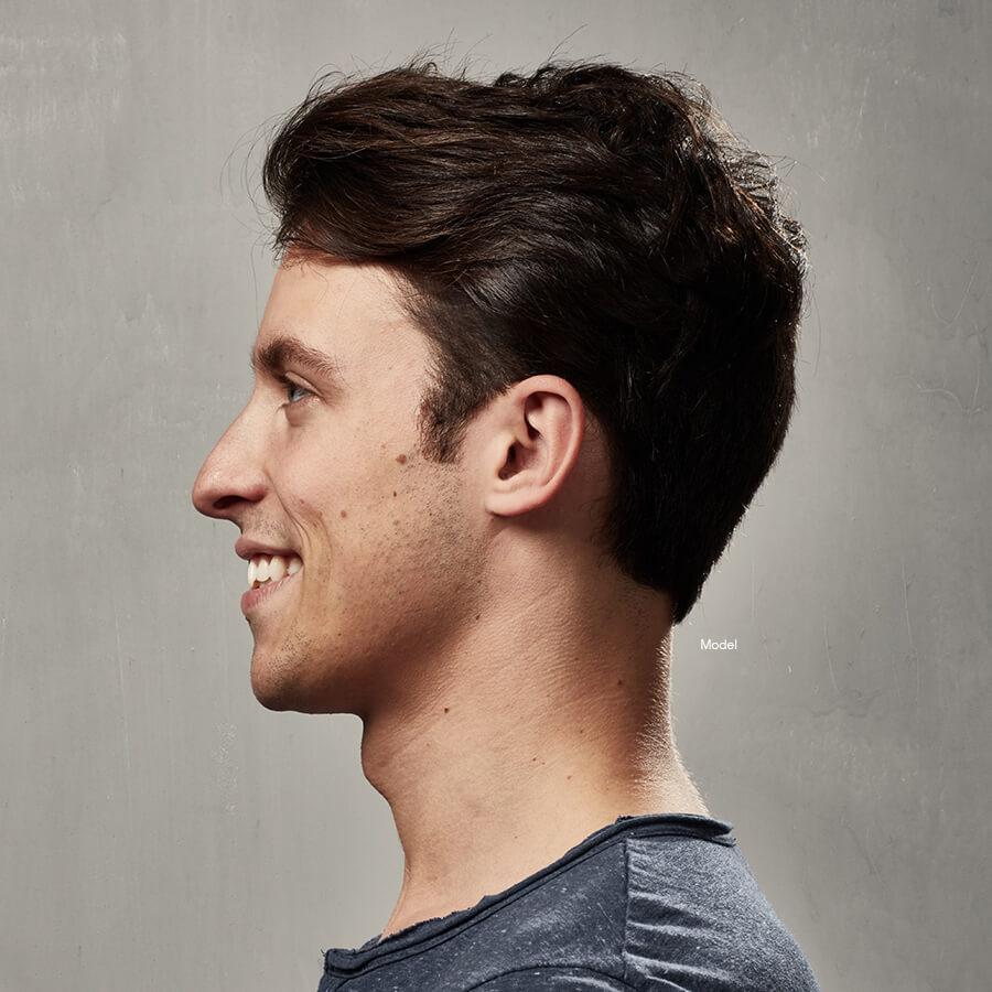 Profile of smiling man